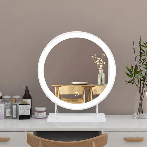 """main image of """"Grand miroir de maquillage illuminé avec miroir de courtoisie à LED illuminé, miroir à LED à intensité variable, miroir rond rotatif, miroir de beauté à LED de bureau, blanc froid 6500k  50*50"""""""