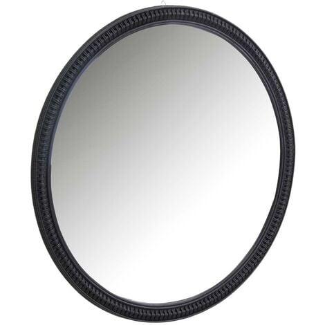 Grand miroir rond en rotin noir - Noir