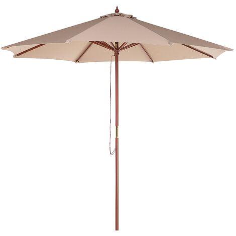 Grand parasol pour terrasse ou jardin avec toile en tissu beige sable