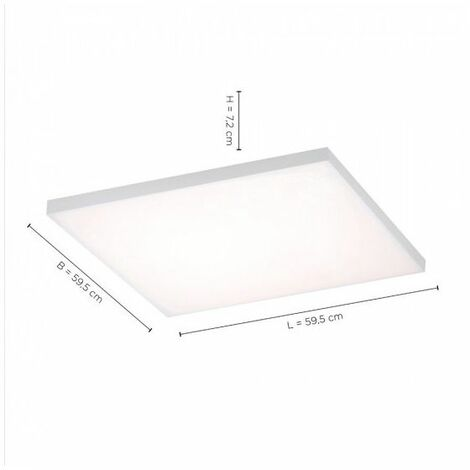 Grand Plafonnier CANA carré LED sans bord très lumineux - Blanc