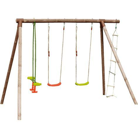 Grand portique en bois pour enfant 5 agrès - Hibiscus