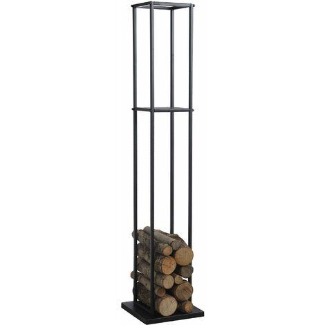 Grand rack à bûches en métal noir