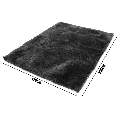 Grand tapis moelleux Shaggy tapis salle ¨¤ manger tapis antid¨¦rapant tapis tapis de sol maison - Noir