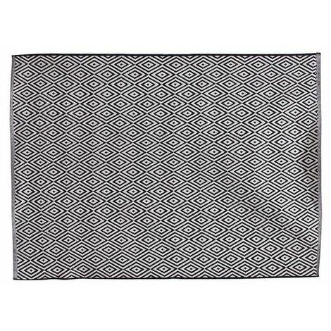 Grand tapis rectangulaire - 120 x 170 cm - Motifs losanges - Noir et blanc - Livraison gratuite