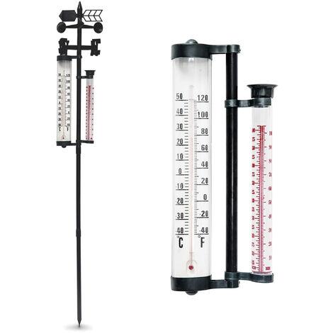 Grand Thermomètre de Jardin - Pluviomètre et Girouette Direction du Vent - 145 cm