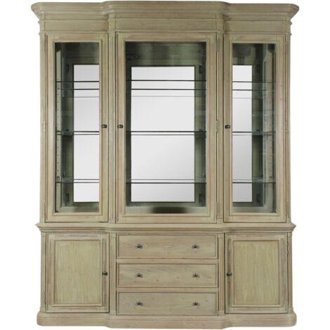 Grand vaisselier miroir 3 portes vitrées, 3 tiroirs