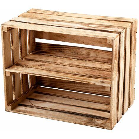 """main image of """"GrandBox Caisse en bois flammé 50x40x30 avec étagère caisse à vin caisse à fruits pour décoration rangement Vintage Shabby Chic Retro:Lot de 1"""""""