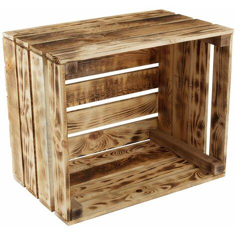 GrandBox Caisse en bois flammé 50x40x30 caisse à vin caisse à fruits pour décoration rangement Vintage Shabby Chic Retro bois de chauffage:Lot de 2