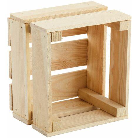 GrandBox Caja de madera 24x21x15cm caja maceta y para plantas caja para frutas decorativa almacenamiento Vintage Shabby Chic Retro:Juego de 3