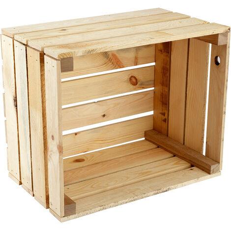 GrandBox Caja de madera 50x40x30 caja de vino caja para frutas decorativa almacenamiento Vintage Shabby Chic Retro caja de leéa:Set de 1