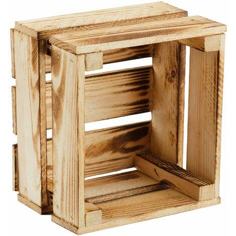 GrandBox Caja madera flameada 24x21x15cm caja maceta y para plantas caja para frutas decorativa almacenamiento Vintage Shabby Chic Retro:Set de 4