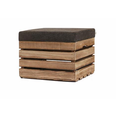 GrandBox Coffre-Siège en Bois - Siège avec Coussin Rembourré, Meuble de Rangement Intérieur/Extérieur - Objet Versatile et Élégant pour la Salle, la Chambre, le Jardin - 37x40x50cm:Naturel non traité