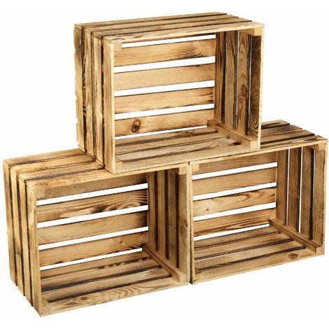 GrandBox Geflammte Holz-Kiste 50x40x30 cm, Wein-Kiste, Obst-Kiste, Deko-Kiste, Aufbewahrung Vintage Shabby Chick Retro, Kaminholz-Kiste, Wandregal