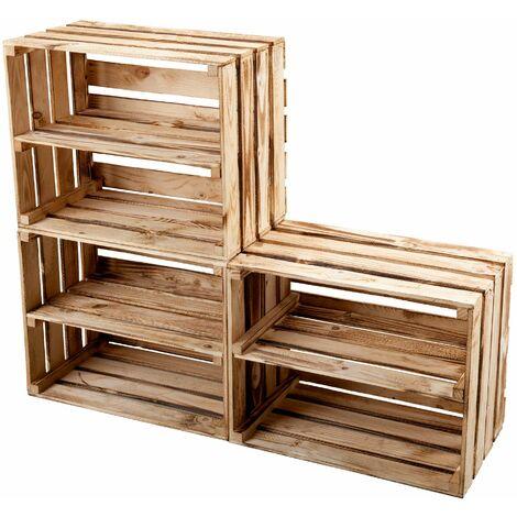 GrandBox Geflammte Holz-Kiste 50x40x30 mit Mittelbrett, Wein-Kiste, Obst-Kiste, Kaminholz-Kiste, Deko, Aufbewahrung Vintage Shabby Chick Retro