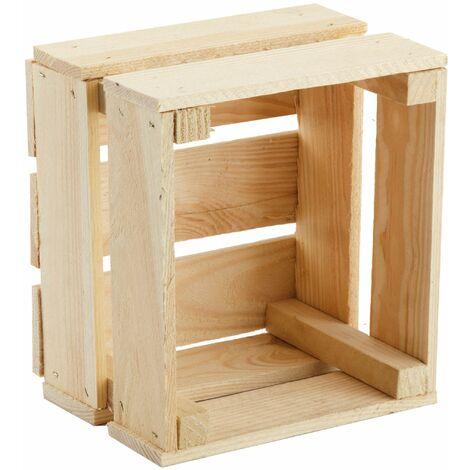 GrandBox Naturbelassene Holz-Kiste 24x21x15 cm, Obst-Kiste, Deko-Kiste, Aufbewahrung im Vintage Shabby Chick Retro, Blumentopf-Kiste, Wandregal:1er Set