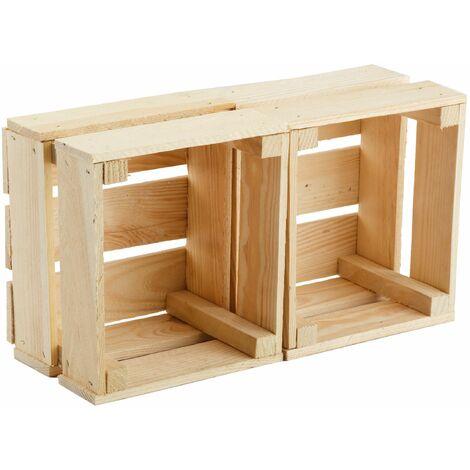 GrandBox Naturbelassene Holz-Kiste 24x21x15 cm, Obst-Kiste, Deko-Kiste, Aufbewahrung im Vintage Shabby Chick Retro, Blumentopf-Kiste, Wandregal:2er Set