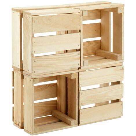 GrandBox Naturbelassene Holz-Kiste 24x21x15 cm, Obst-Kiste, Deko-Kiste, Aufbewahrung im Vintage Shabby Chick Retro, Blumentopf-Kiste, Wandregal:4er Set