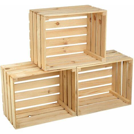 GrandBox Naturbelassene Holz-Kiste 50x40x30 cm Wein-Kiste Obst-Kiste Deko-Kiste Aufbewahrung Vintage Shabby Chick Retro Kaminholz-Kiste Wandregal