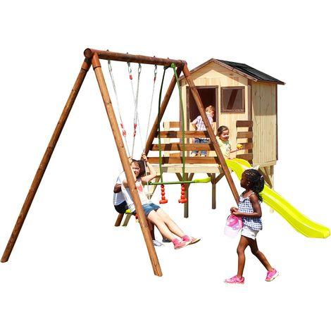 Grande aire de jeux en bois avec cabane et toboggan - Lynda