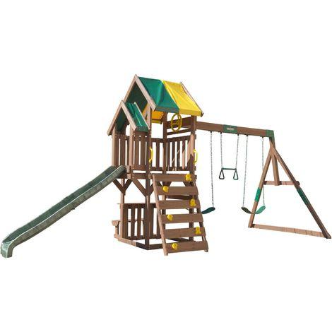 Grande aire de jeux en bois toboggan escalade et balançoire Arbor Crest