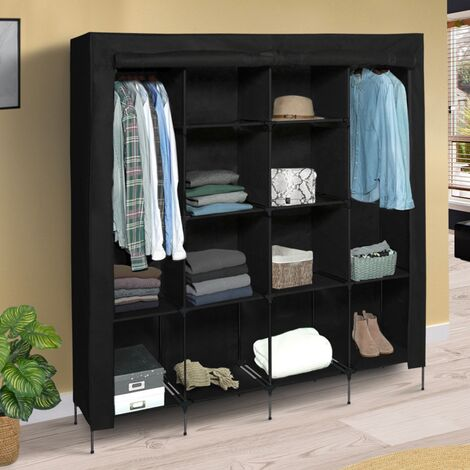 """main image of """"Grande armoire de rangement noire dressing DOUBLE penderie XXL tissu"""""""