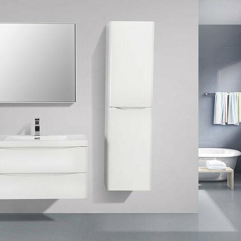 Grande armoire de rangement PIACENZA hauteur 150 cm blanc laqué - Blanc