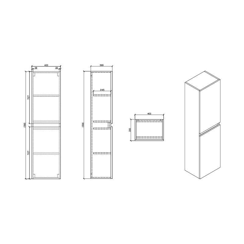Grande armoire de rangement SIENA hauteur 150 cm, noyer