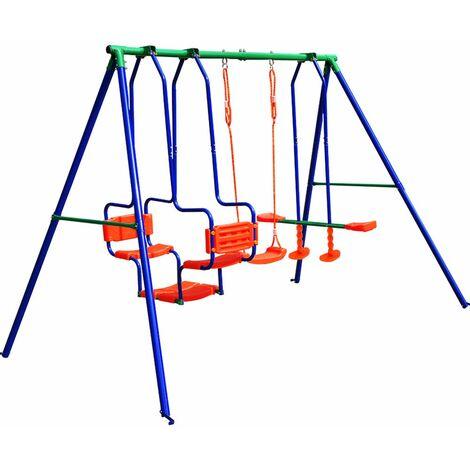 Grande balançoire enfants portique XXL charge max. 250 kg Extérieur structure de jeu jouet accesoires nacelle face à face balançoire classique