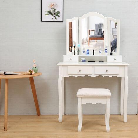 Grande Coiffeuse Table De Maquillage Avec 3 Miroir, 4 Tiroirs, Séparations Pour Tiroirs Et Tabouret,Fixée Au Mur, Style Champêtre