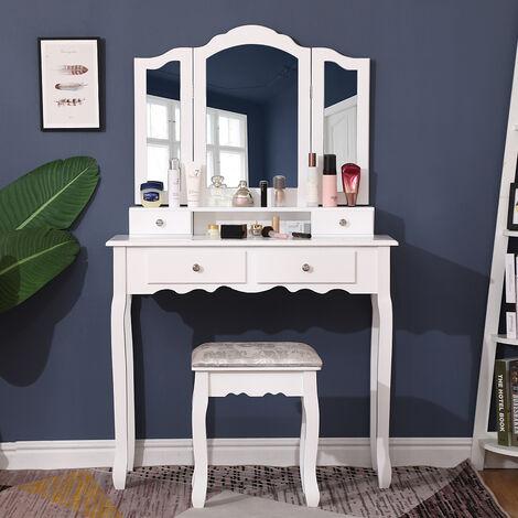 Grande Coiffeuse, Table de Maquillage, avec Miroir à 3 Miroirs, 4 Tiroirs et 1 Tabouret, Style Champêtre, Blanc
