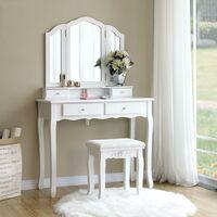Grande Coiffeuse, Table de Maquillage, avec Miroir à 3 Volets, 4 tiroirs et 1 Tabouret, Style champêtre, Blanc, RDT07W