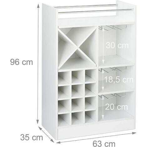 Grande étagère meuble à vin 8 bouteilles et support à verres blanc - Blanc
