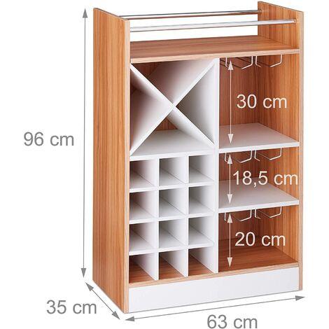 Grande étagère meuble à vin 8 bouteilles et support à verres marron - Marron