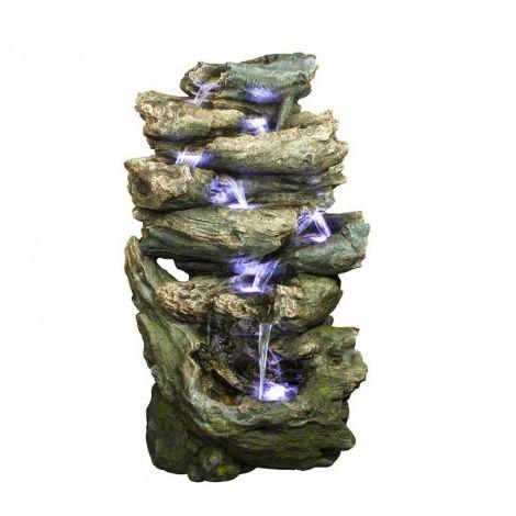 Grande fontaine de jardin cascade d'eau Oakland à éclairage LED avec pompe - longueur : 0.68 m