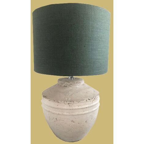 Grande lampe à poser Koza en céramique blanche et abat-jour vert - Blanc