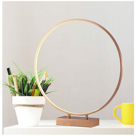 Grande Lampe anneau LED cuivré Ø50cm tactile - Penelope