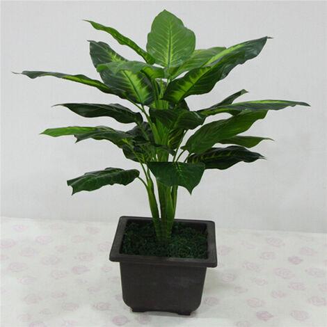 """main image of """"Grande plante artificielle à feuilles persistantes de 50 CM 25 feuilles réaliste Bush plantes en pot en plastique vert arbre maison jardin bureau décoration"""""""