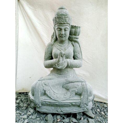 Grande Statue déesse balinaise en pierre position chakra 1m