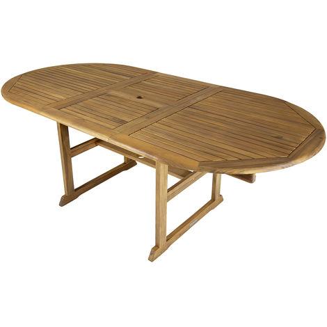 Grande table de jardin ovale en bois - extensible