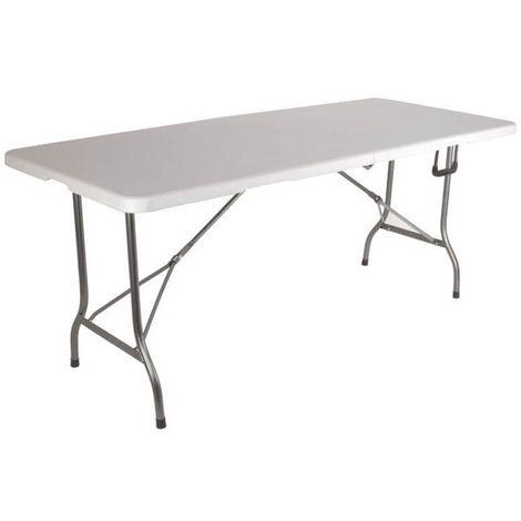 Grande table de jardin pliante 8 pers Blanc 180 cm -