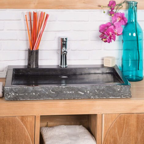 Grande Vasque 70cm à poser rectangle en pierre marbre COSY noir