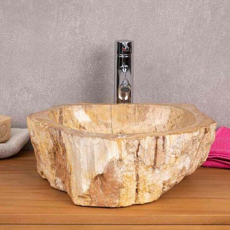 Grande vasque salle de bain en bois pétrifié fossilisé marron