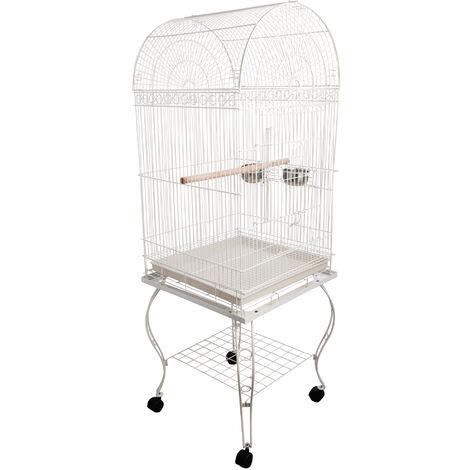 Grande volière cage à oiseaux design avec mangeoire perchoir suspendu plateau amovible étagère et roulettes 54L x 54l x 153H cm blanc - Blanc