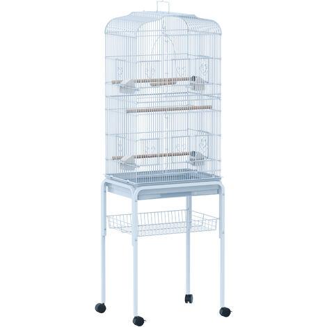 Grande volière multi-accessoires mangeoires perchoirs bac amovible roulettes 48 x 37 x 160 cm blanc - Blanc