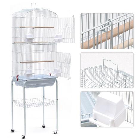 """main image of """"Grande Volière pour Oiseaux Cage à Roulettes Canaries Perroquet Perruches Canaris, 46*35.3*150.6cm, Blanc"""""""