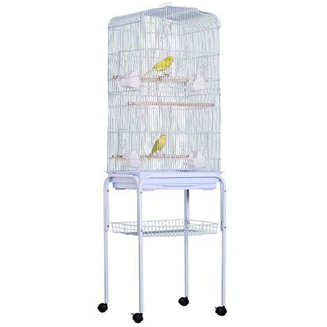 Grande Volière pour Oiseaux Cage à Roulettes Canaries Perroquet Perruches Canaris, 46*35.3*150.6cm, Blanc