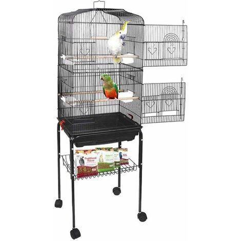 Grande Voliere pour Oiseaux Cage a Roulettes Canaries Perroquet Perruches Canaris avec 4 mangeoires, 3 perchoirs, 150,6cm
