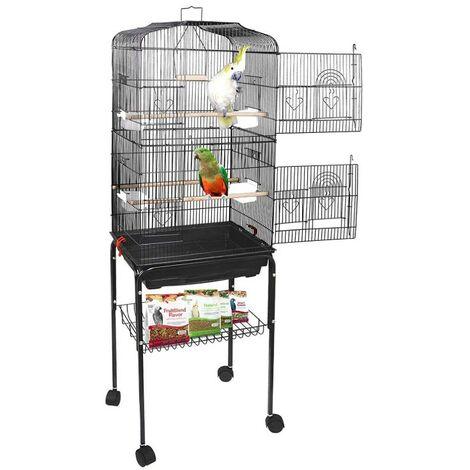Grande Volière pour Oiseaux Cage à Roulettes Canaries Perroquet Perruches Canaris avec 4 Mangeoires, 3 Perchoirs, 46*35.3*150.6cm