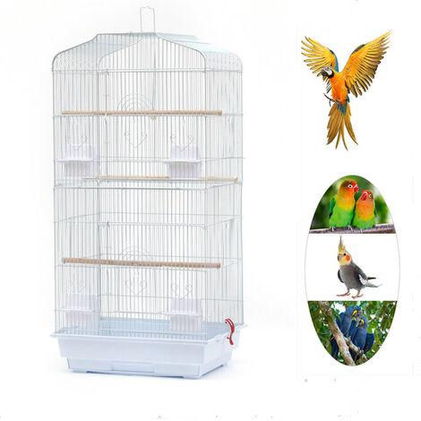Grande Volière pour Oiseaux Cage en Méta pour Canaries Perroquet Perruches Canaris avec 4 Mangeoires, 3 Perchoirs, 92cm, Blanc