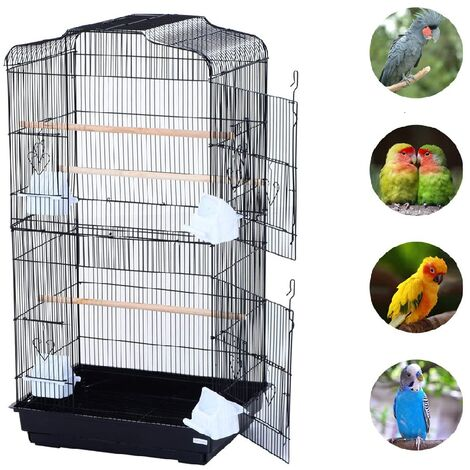 Grande Volière pour Oiseaux Cage en Méta pour Canaries Perroquet Perruches Canaris avec 4 Mangeoires, 3 Perchoirs, 92cm, Noir